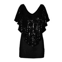 Wholesale Women Stretch Batwing Blouse - Top Quality Blusas 2016 Summer Women Short Sleeve V-Neck Loose Sequin Blouse Batwing Sleeve Casual Stretch Shirts Tops
