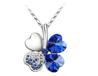 Wholesale Gift Jewlery - Austria Crystal Necklace Pendant Cover 4 Leaf Necklace Jewelry For Women Fashion Women Best Gift Jewelry Top Quality Jewlery 9554