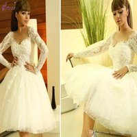 Wholesale Knee Length Romantic Floral - New Long Sleeve Lace Knee Length Wedding Dresses Ball Gown A Line Romantic V Neck Myriam Fares Wedding Dress Appliques Bridal Gowns China