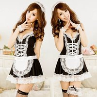 set biancheria sexy bretelle bianche Cute maid costume uniforme a nome di 178