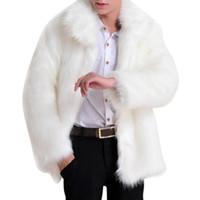 revestimento de casaco de mangas de couro venda por atacado-Atacado- 2017 Sólidos manga comprida casaco de pele Artificial jaqueta de couro falso dos homens Parker luxo casaco de pele de luxo características cheia de pele na moda