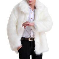 männer leder mäntel jacken großhandel-Großhandels- 2017 feste lange Hülsen-Kunstpelz-Jacken-Männer Faux-Leder-Luxusjacke Parker-Luxus-Pelz-Mantel kennzeichnet vollen Pelz modisch