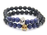 Wholesale Lapis Lazuli Gold Bracelet - New Design 8mm Matte Agate & Lapis Lazuli Beads with Roman Warrior Helmet Bracelet Fashion Spartan Jewelry for Mens Gift