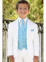 Wholesale Boys Royal Blue Vest - Custom white boy suits two Button Boy Tuxedos Notched Lapel Children Suit Kid Wedding Prom Suits three piece suit (jacket+vest+pants+tie)-l2
