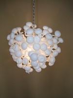 candelabros blancos de descuento al por mayor-AC / DC Fuente Led 100% Vidrio Soplado a Mano Borosilicate Dale Chihuly Murano Art Lamp White Colgantes de Descuento de Color