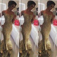 lange rüsche funkeln prom kleider großhandel-Sekt Pailletten Gold Rüschen Meerjungfrau Prom Kleider Sexy Sweep Zug Split Side Lange Formale Schatz Party Kleider Nach Maß