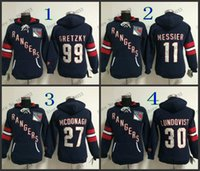 Wholesale Hockey Jersey Style Hoodie - 2016 New, New Style Womens New York Rangers Hoodie Jerseys #30 Henrik Lundqvist Blue Ice Hockey Hoodie,100% Embroidery Logos,Mixed Ord