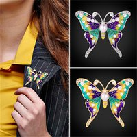 Wholesale Butterfly Wing Pin - U7 Jewelry Brand Brooch Butterfly Shape Austrian Rhinestone Synthetic Pearl Colorful Winged Butterfly Pin For Wedding Party B2725