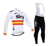 Wholesale Team Sky Short Sleeve Jersey - Sky Team Long Sleeve pants sets Pro Clothing Bike Clothes Quick Dry Men Bicycle Clothes Jerseys suits 2017