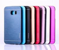 iphone aluminio pc al por mayor-Note5 Edge + Motomo PC Funda con brocha metálica de aluminio para Samsung Note 5 S6 Edge Plus Grand Prime G530 Core G360 A8 MOTO G3 ASUS Zenfone2 5.5