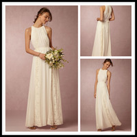color chart for wedding dress prices - 2016 BOHO Bridesmaid Dresses Long Chiffon Bridesmaid Dress Ivory With Lace For Beach Wedding Dress Custom Made Vestidos Damas de Honor