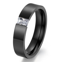 Wholesale Rings Baguettes - Free Engraving 1PC Clear Baguette CZ Stainless Steel Band Men Women Couple Ring 6MM Wide US Size#6-13