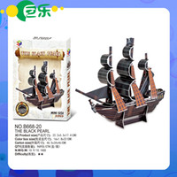Wholesale Toy Black Pearl Ship - Wholesale-Wholesale Price Puzzle Toys The Black Pearl Boat 3D Puzzle Junk ships Rome warship The Santa Maria Ship Educational Toys