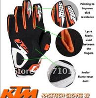 cuir pays achat en gros de-2015 HOT SALE KTM en fibre de carbone moto cross-country gants / gants de course / gants de vélo en cuir protéger gant orange couleur taille M L XL