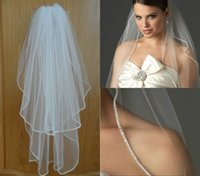 2015 Новый горячий надувательство 2-Layer 1 связей Длина локтя Rhinestone Edge Wedding Bridal Veil With Comb Bridal Wedding Accessories handmade 60-80cm