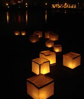 Wholesale Outdoor Floating Lanterns - 100pcs Lot Floating Water Lantern Chinese Wishing Lanterns Square Paper Lantern for Outdoor Wedding Patry 2015 New Free Shipping order<$18no
