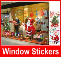 Wholesale Stick Mirror Decorations - Fashion Christmas Wall Stick Santa Claus Christmas tree Removable Wall Sticker For Show Window Decoration Free shipping