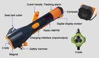 Wholesale Solar Dynamo Charger Flashlight - Hot Seller Solar Charger Crank Winding Dynamo Led Torch Emergency Flashlight Safety Hamme Orange and Black