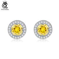 Wholesale Arrow Flowers - ORSA Fashion Silver Earring Stud with Heart & Arrow Cut 0.75 ct Yellow Zircon Earring Micro Paved CZ Studs Earring for Women