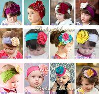 Wholesale Cheap Baby Girl Head Bands - 200pcs 60 designs baby Girl's Elastic Headbands floral Bow Headband kids hair band girl head wrap Children's Hair Accessories cheap 201505HX