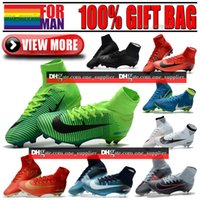 Vente en gros pas cher High Tops Football Chaussures Nouveau Blanc Mercurial Superfly CR7 Football Bottes Ronaldo Mercurial Superfly V FG Neymar Football Crampons
