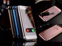 Wholesale Iphone Box 5pcs - For Iphone 7 8 Iphone7 5 5S 6 6S Plus 6Plus Retail Box Plating Chrome skin Mirror View Flip Wallet case cover 1pcs 5pcs