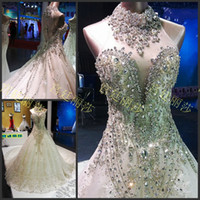 Wholesale Drilled Big Crystal - 2015 wedding dresses royal palace lisa retro crystal drilling big tail wedding dress Bling Luxury Applique Tulle Long Bridal Gowns 2016