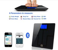 Wholesale Bmi Fat - 400LB Bluetooth Smart Body Fat Weigh Scale Body Fat Analysis Scales for Test Weight Fat Water Bones Muscles Visceral Fat BMI BMR Value