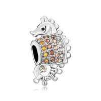 chamilia kristallschmucksachen großhandel-Personalisierte Frau Schmuck gelb Kristall Seepferdchen European Sealife Perle Metall Charms Armband mit großem Loch Pandora Chamilia Kompatibel