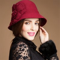 Wholesale Ladies Wool Church Hat - Ladies Retro Winter 100% Wool Felt Flower Adjustable Cloche Bowler Cone Hat Fedora Fascinator Cocktail Party T116