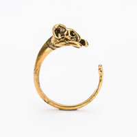 Wholesale Bronze Rat - Fashion Antique Silver Bronze Boho Brass Knuckle Girl's Burnished Rat Animal Wrap Rings Tiny Mid Finger Couple Mouse Ring