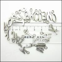 metal alfabe kolye toptan satış-Toptan-Mix 520pcs Charms alfabe Mektubu Kolye Tibet gümüş Çinko Alaşım Bilezik Kolye DIY Metal Takı Bulguları Uyar