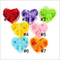 Wholesale paper soap heart - soap flower heart shape handmade rose soap petals rose flower paper soap mix color (3pcs=1box) 0608002