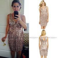 Wholesale Sheath V Neck Formal Dress - 2015 Short Gold Sequined Bridesmaid Dress Rose Gold Maid of honor Dresses Sheath V-Neck Pleated Sparkly Formal Party Gowns Dresses