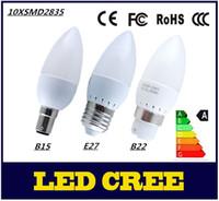 Wholesale B22 Bayonet White Led - 5pcs lots E14 E27 B22 B15 AC200V-240V 10LEDS SMD2835 200-300lm 3W LED SMD Candle Bulbs Light Bayonet SES Chandelier