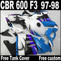 Wholesale 1998 honda f3 plastics for sale - Group buy Free gifts bodywork fairings for HONDA CBR600 F3 CBR white blue black plastic fairing kit QY47