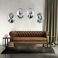 4PCS Marilyn Monroe Head Décoration murale murales Sexy Portrait de Marilyn Monroe Art Wall Decal Sticker Sofa fond d'écran Posters