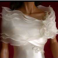 Wholesale Silver Shoulder Wrap Wedding Accessory - Off Shoulder Chiffon Bolero Jacket Bridal Shrug Bride Wraps Wedding Dress Accessories Favors With Hand Made Flowers