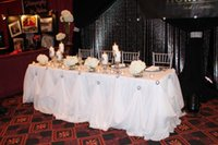 "Wholesale Wedding Decor Ice - 10ft*30"" New Design Luxury Diamond Pearl Brooch Ice Silk Table Skirt For Wedding Decor"