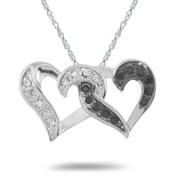 Wholesale Love Necklace For Couples - hot selling rhodium plated 10pcs a lot black and clear crystal double heart pendant for couple lover jewelry