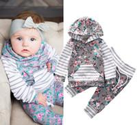 trajes de invierno para niñas pequeñas al por mayor-Ropa de bebé recién nacido ropa Ropa de otoño invierno Boutique Tops florales con capucha Pantalones largos Harem Toddler Outfits Set 0-24M