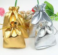 Wholesale Gauze Jewelry Bags - Fashion Gold Plated Gauze Satin Jewelry Bags Jewelry Christmas Gift Pouches Bag Wedding Gift Bag 4Size 5x7cm 7X9cm 9x12cm 13x18cm