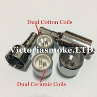 Wholesale Electronic Cigarette Cartomizer Metal - 10pcs D-CORE double coils wax atomizer Ceramic Cotton rob wax vaporizer dual heating coils wax cartomizer e cigarette electronic Cigarette