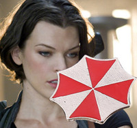 Hollywood Film Resident Evil Umbrella Halskette Legierungsschild Red Umbrella Anhänger Link Kette Halskette 24pcs Lot Freies Verschiffen 1215B5