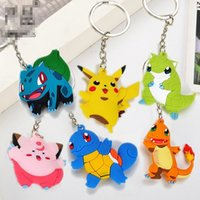 Wholesale Double Men Toys - 3d Holder Poke Monster keyrings Pikachu pvc silicone key chain Double Sided Cartoon toys Key chain