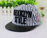 Wholesale Snapback Colours - BROOKLYN Style Canvas Snapback Hat For Girl Stripes Hiphop Embroider Ball Caps Dance Street Hats 2 Colours