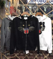 Wholesale Cardigans For Men Sale - 2018 HOT SALE New fashion pullovers Hoodies for Black cat embroidery Tops Man Clothes Men Winter Printed Cute Casual Cotton Sweatshirts