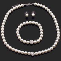 Wholesale Chunky Beads 8mm - New Fashion Cream White Crystal 8mm Pearl Ball Beads Chunky Cluster Bib Necklace Bracelet Earrings Set For Women Jewelry PNS602