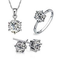 gümüş alyans yüzük setleri toptan satış-Nedime Takı Seti Düğün için Altın Gibi 925 ayar gümüş zincirler Kadınlar Için Kolye Kolye Küpe Taş Yüzükler Parti Takı Setleri