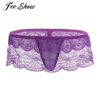 Wholesale Womens Open G Strings - New Womens Lingerie Low Rise Lace Floral Fishnet G-strings Underwear Underpants Sexy Women's Open Butt Semi See-through G-string